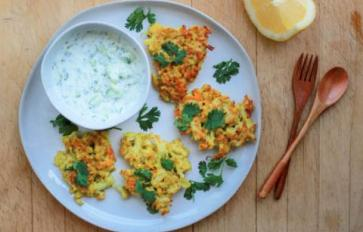 Meatless Monday: Crispy Cauliflower Fritters With Cool Cucumber Yogurt Sauce